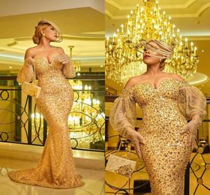 Vestido De Sirena Gold Evening Dresses for Women Party Beading Mermaid Prom Dress Long Plus Size Graduation Gowns Robes De Soirée