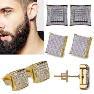 18K Real Gold Hiphop CZ Zircon Square Stud 0.7-1.6cm for Men Women and Girls Gifts Diamond Earrings Studs Punk Rock Rapper Jewelry