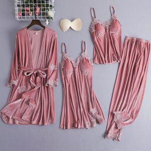 4PCS Velour Robe Set Female Robe Gown Classic Burgundy Sleepwear Nighty Set Lace Patchwork Nightwear Bathrobe Sexy Negligee