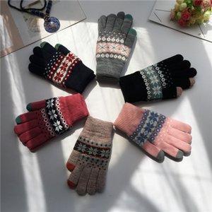 Vélo hivernal Gardez des gants tricotés chauds Double couche de cerf à froid de cerfs Snowflake Studiant Gants à écran tactile Gants à écran tactile