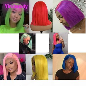 브라질 버진 머리카락 밥 가발 13x4 레이스 프런트 가발 노란색 레드 블루 오렌지 핑크 페루 말레이시아 레이스 프론트 인간의 머리 가발 12-16inch
