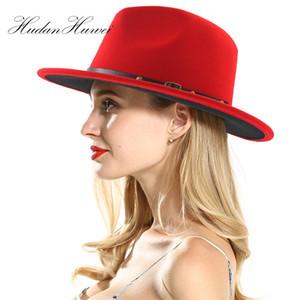 الأزياء المرقعة الجاز قبعة رسمية للجنسين شقة بريم الصوف فيلت القبعات مع حزام أحمر أسود بنما قبعة تريلبي للرجال النساء حزب قبعة BWF3256
