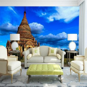 Commission 3D Wallpaper for Walls 3d Decorative Wall Paper Thai Pagoda Blue Sky Oxygen Mural Wallpapers Home Improvement