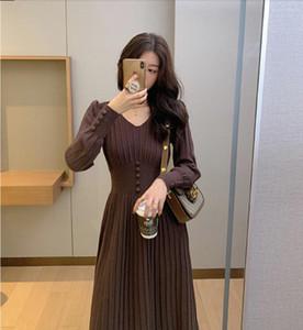 2020 Winter Dress Knitted Dress Women Casual Long Sleeve Vintage Elegant Office Sweater Dress Female