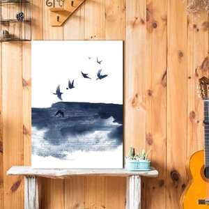 Poster of Bird Painting In Ink and Wash Nordic Fashion Canvas Painting Wall Art Pictures Prints and Posters for Living Room Décor