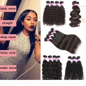 Grade 8a Brazilian Virgin Hair 3 Bundles Malaysian Indian Peruvian Body Deep Water Wave Straight Kinky Curly Human Hair Extensions 4 Bundles