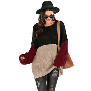 O Neck Long Sweaters 2021 Fall Woman Loose Large Size Winter Clothes for Ladies Color Block Knitted Pullover Warm Jumpers Autumn