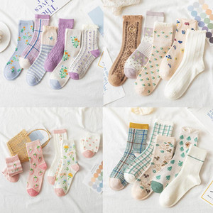 5 pairsNew Hot Plaid Dot Print Women's Cotton Socks College Style Japanese Kawaii Cute Long Socks for Women Harajuku Vintage