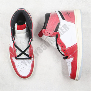 2021 1S Chicago Crystal Fond Red White Jumpan Designer Chaussures High Basketball avec Boîte OG Hommes authentiques Sneakers Athletic DA2728 100