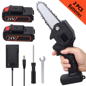 Tomyvic Mini Cordless Chainsaw 4-Zoll-tragbare 0,7kg Elektrische Kettensäge mit elektrischer Säge mit elektrischer Säge, die für Holzschneid- und Zweige geeignet ist