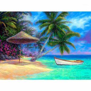 Картины Chunxia оформленный DIY живопись по номерам морской пейзаж корабль акриловая современная картина домашнее декор для гостиной 40x50cm ra31311