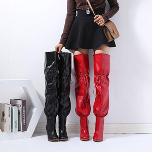 Fashion Stretch Fabric Sock Boots Pointy Toe Over-the-Knee Heel Thigh High Pointed Toe Woman Boot size 35-43 Women High Boots