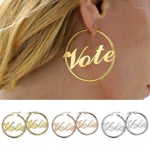Boucles d'oreilles à vote creux de mode pour femmes rondes géométriques Bohemian Bohemian Boucles d'oreilles U.S. 2020 Élections vote bijoux1