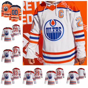 Edmonton-Öler 2020-21 Reverse Retro Jersey 97 Connor McDavid 29 Leon Draisaitl 93 Ryan Nugent-Hopkins 74 Ethan Bear Hockey-Trikots