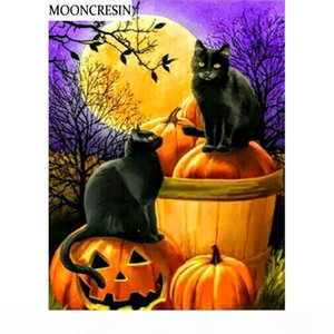 wholesale Diamond Painting Cat Cross-Stitch Diamond Embroidery Mosaic Pictures Of Rhinestones Paintings Pumpkin Halloween Decoration