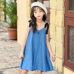 New 2020 Summer Girls Dress Personality Toddler Suspender Dress Children Sundress Beach Kids Jeans Dress for Girl Denim, #9025 Y1201