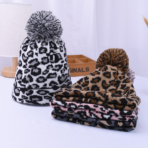 Women Winter Leopard Knitted Hats Fashion Pom Pom Beanies Warm Wool Knitted Has Bonnet Pom Beanie Caps Party Hats Supplies 4styles ZZC2315