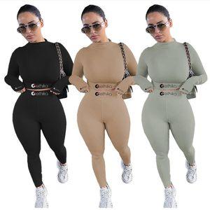 Le donne Body Tuta Set da ricamo Lettere Designer manica lunga Pullover Outfit Top Legging vestito di pantaloni in due pezzi vestiti F111803
