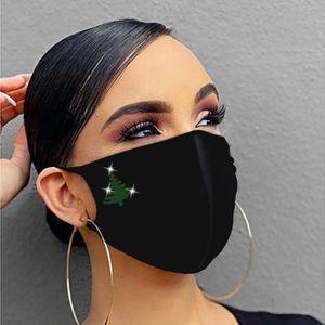 Mascarilla de cristal de diamante impreso Mujeres reutilizables transpirables de la Navidad de la Navidad de la Navidad Decoración de la máscara para la cara Mascarilla Sqcpvo