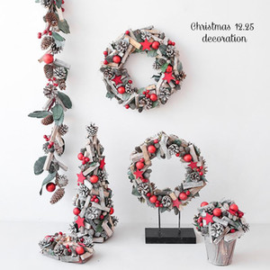Nordic wood mini Christmas tree ornaments New Year Gifts pine cones rattan candlestick layout pendant Xmas Decorations for Home