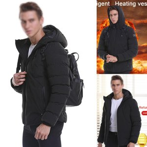 Men Long Sleeve Skiing Heating Hooded Winter Warm USB Powered Outdoor Waterproof Wadded Jacket Washable Zipper Soft