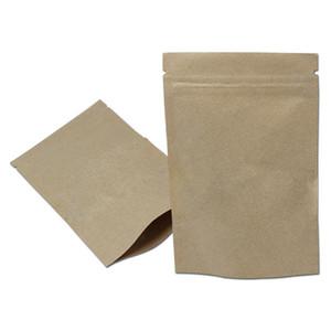 100Pcs Brown Kraft Paper Zip Lock Bag Reusable Tea Powder Nuts Package Bags Grocery Food Storage Bags
