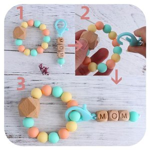 Ins DIY Baby Teether Natural Wooden Ring Teethers Silicon Beaded Soother Infant Teething Chew Toys Shower silicone teething beads