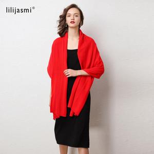 LILIJASMI 100% de laine fines foulards tricotés de laine 180 * 60cm Câble Deco Deco Femmes Automne Hiver Chauffe Big Foulard Laine douce # 9114