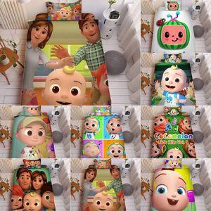 Kind Cocomelon JI 3D Druck Bett Bügelblatt Drei-teiliges Sets Kissenbezug + Bettblatt + Quilt Cover-Bettwäsche Jungen Mädchen Cocomelon Supplies LY118A