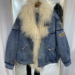 2020 new beach wool big hair collar down jacket women fashion brand jeans Parka white duck down coat
