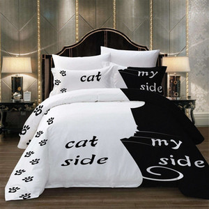 BEST.WENSD Cat Side My Side Beddings Duvet Cover Set Soft Comfortable Bedding Set Bed Bedlinen King Comforter Home 5dDb#