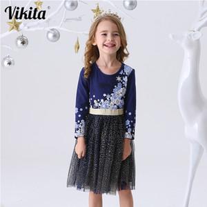 VIKITA Kids Dress for Girls Long Sleeve Children Party Perform Sequins Dress Kids Princess Unicorn Vestidos Girls Flower Dresses 201204