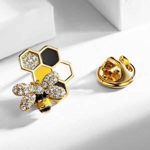 Womens Fashion Cute Small Bee Enamel Pins Mens 2 Pieces Tiny CZ Delicate Honeycomb Buttons Brooches Lovely Lapel Pins Brooch Pin