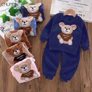 Children's Pajamas Set 2020 Toddler Baby Boy Girl Winter Clothes Set Flannel Warm Sleepwear Set 2pcs Suit Outfits Kids Clothing Q1203
