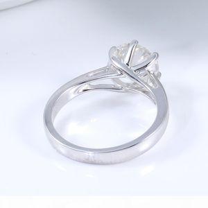 Queen Brilliance 2ct Lab Grown Moissanite Diamond Engagement Wedding Women Ring Platinum Plated 925 Sterling Silver Fine Jewerly q171026