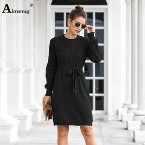 AIMSNUG 2020 Herbst Frauen Elegante Pullover Kleid Knielang Partykleider Winterkleid Damen Vintage Schärpen dünn1