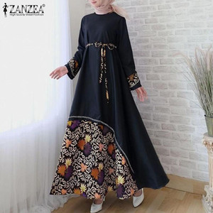 잔존 여성 빈티지 긴 소매 꽃 무늬 맥시 sundress 가을 두바이 이슬람 히 자브 드레스 벨트 긴 Vestido Caftan Marocain