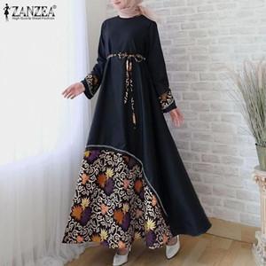 Zanzea Mujeres Vintage Manga Larga Impresa Maxi Sundress Otoño Dubai Musulmán Hijab Dress Cinturón Largo Vestido Caftan Maronead