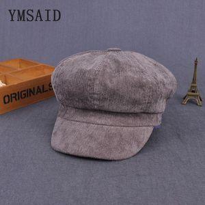 Ymsaid 2020 new winter England Vintage Corduroy Cap Thick Woman Beret Hat Octagonal Cap Beret Men Winter Hat Cabbie Hats