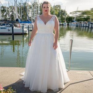 Fashion V-neck A-line Plus Size Wedding Dresses Organza Sweep Train Vestido de Novia Lace Bridal Gown Customized Q1113