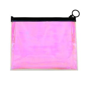 Borse cosmetiche trasparenti rosa laser TPU da 100pcs