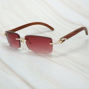 Bruiloft Eyewear Diamante Gafas de sol Hombres Mujeres Sombras de madera UTWB La brillante Huella Dactilar Pvjke Strass Luxury Sol Carter para WLFR