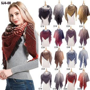 Women Men Autumn Winter Large Scarf Long Tassels Bright Colorful Striped Knit Thick Neck Warm Casual Square Shawl Wrap Blanket YL0181