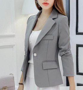 2020 new women's blazer autumn slim suits solid color short coats long sleeve slim small suit female office overcoat quality top