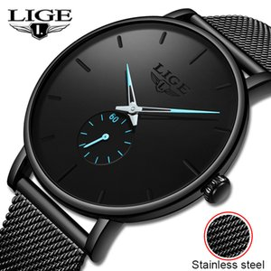 LIGE New Fashion Sports Mens Watches Top Brand Luxury Waterproof Simple Ultra-Thin Watch Men Quartz Clock Relogio Masculino 201204