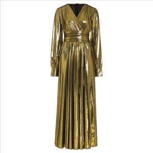 Golden Glitter Split V Neck Sexy Party Dress Long Women High Waist Tunic Night Club Long Sleeve Pleated Maxi Dresses Fall