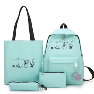 4pcs Set School bag Student Backpacks for Girls Teenagers Female Bagpack Cute Cartoon cat Backpacks Canvas Satchel knapsack A1113