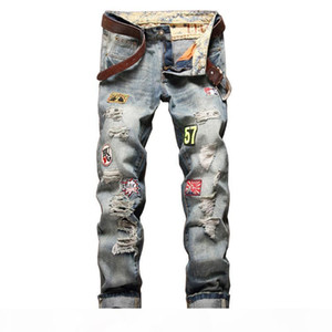 2020 Hot Sale Europe And America Brand Robin Straight Bowl Badge To Hole In Full Length Mid Patches Zipper Jeans Men Mens