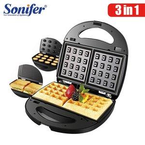 3 in 1 Elektrikli Waffle Maker Demir Sandviç Makinesi Makinesi DIY Çörek Makinesi Yumurta Kek Fırın Kahvaltı Waffle Sonifer