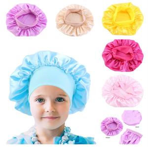 Fashion Kids Bonnet Girl Satin Night Sleep Shower Cap Hair Care Soft Cap Head Cover Wrap Beanies Skull Cap For 1-6Y baby Cheap E111803